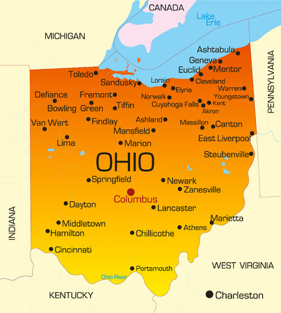 kentucky: Vector color map of Ohio state. Usa Illustration