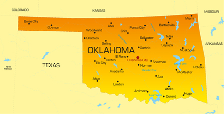 oklahoma: Vector color map of Oklahoma state. Usa
