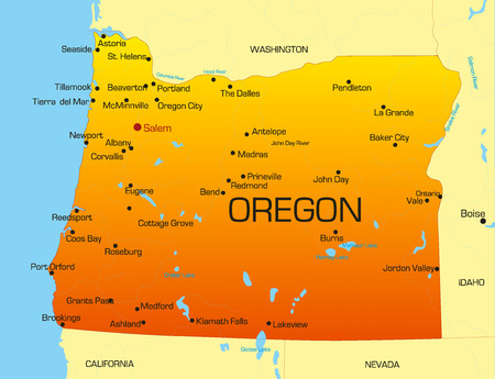 states: Vector color map of Oregon state. Usa