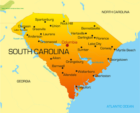 south east: Vector color map of South Carolina state. Usa Illustration