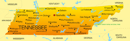 tennessee: Vector color map of Tennessee state. Usa Illustration