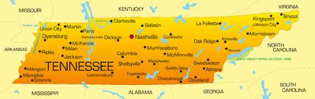 tennesse: Vector de mapa de color estado de Tennessee. EE.UU.