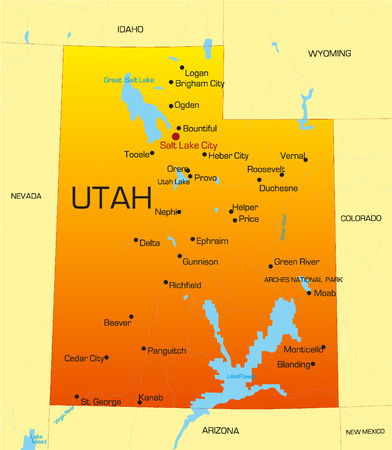 Vector color map of Utah state. Usa Vector