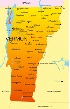 Vector color map of Vermont state. Usa Vector