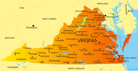 Vector color map of Virginia state. Usa Illustration