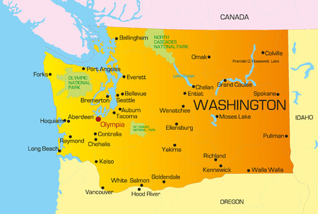 Vector color map of Washington state. Usa Stock Vector - 4446040