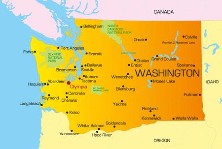 washington state: Vector color map of Washington state. Usa