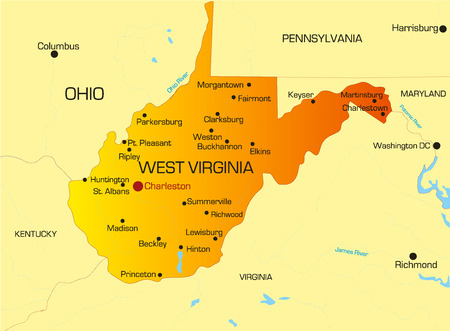 Vector color map of West Virginia state. Usa Vector