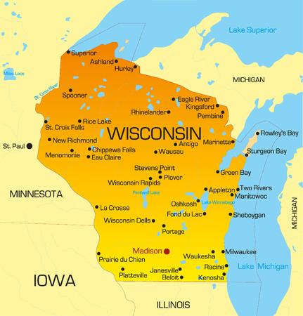 Vector color map of Wisconsin state. Usa