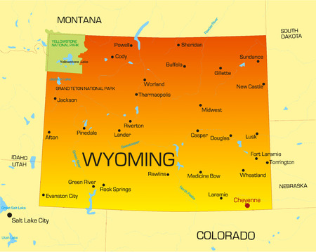 Vector color map of Wyoming state. Usa Stock Vector - 4446039