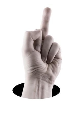 Middle finger Sign isolation on white background Stock Photo