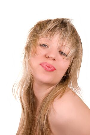 Beautiful blond sexy girl with kissing gesture photo