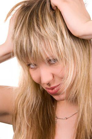 sexy blonde girl: Sexy blonde girl izolować na białym Zdjęcie Seryjne