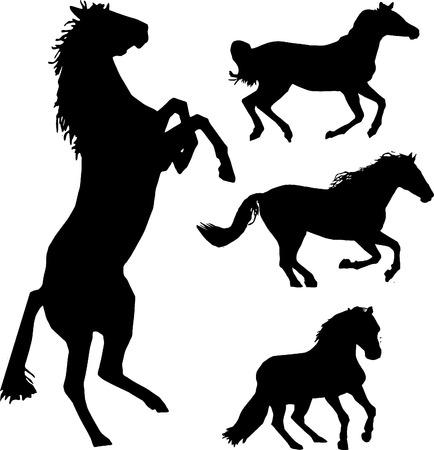 Aantal paarden silhouet collectie  Vector Illustratie