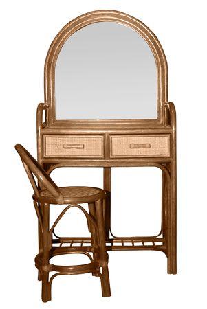 pansement: commode avec miroir sur blanc