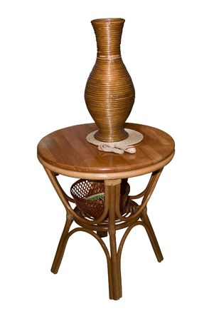 wooden table with vase isolated on white photo