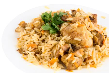 basmati: close-up of tasty pillau in dish on white Stock Photo