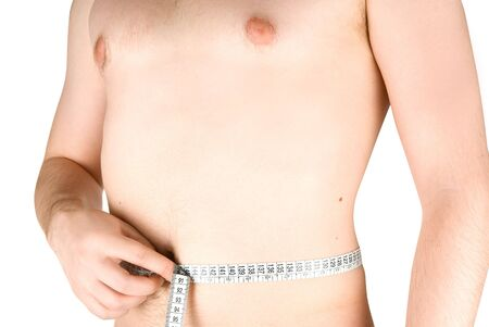 Young man measuring his body, isolated on white background Stock Photo - 4620820