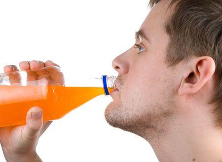 Man drinking orange juice isolated on white Stock Photo - 4620830