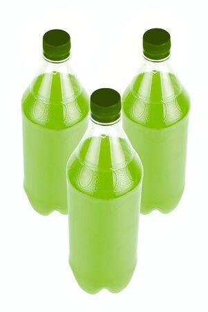 Three Green Juice bottle isolated over white background Stock Photo - 4620849