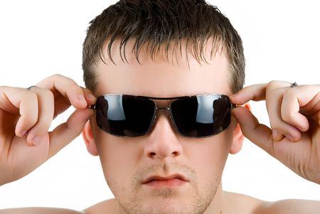young man portrait with sunglasses on white photo