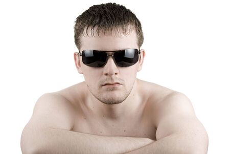 Man in black sunglasses on white photo