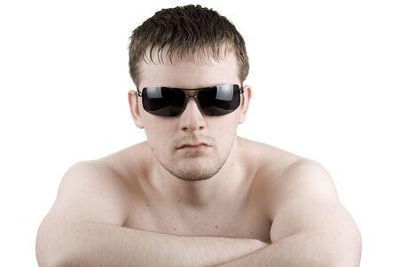 Man in black sunglasses on white Stock Photo - 4639670