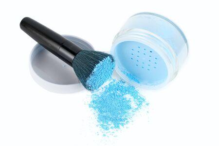 Blue powder and black brush isolated Stock Photo - 4639879
