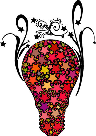 Abstract vector color stars bulb illustration Stock Vector - 4639898