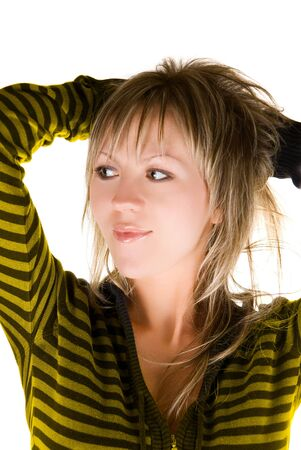 Portrait of lovely young beautiful blond woman Stock Photo - 4711459