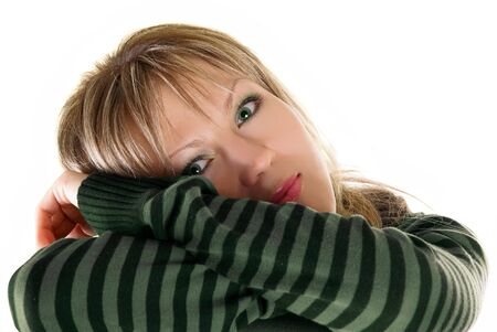 Portrait of charm young beautiful blond woman Stock Photo - 4711479
