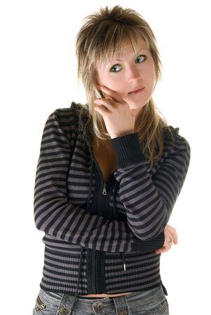 beauty thinking woman isolated on white background Stock Photo - 4721672