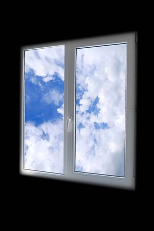 plastic window in black room with view to sky Stock Photo - 4732162