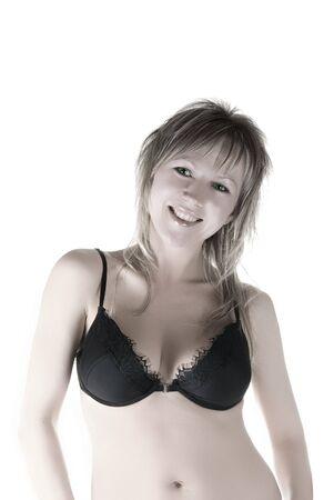 pretty model wearing black bra on white background Stock Photo - 4754819