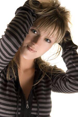 european pretty model girl on white photo