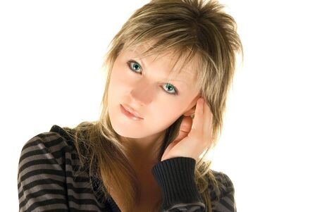 european lovely model girl on white photo