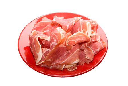gammon at red dish on white background photo