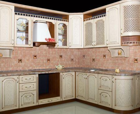 Modern kitchen interior on black photo
