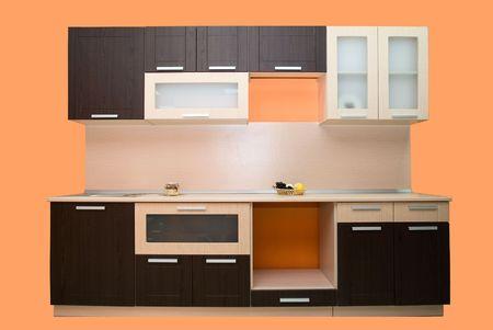corner clock: Modern kitchen on orange background