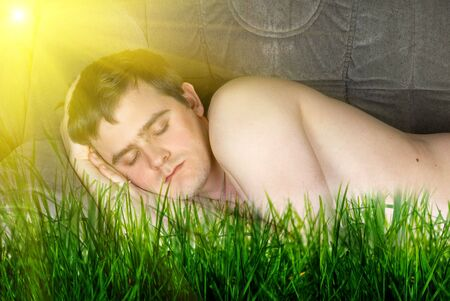 Concept of sleeping man at outdoor  photo
