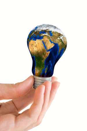 Hand hold earth bulb  isolated on white Stock Photo - 4796956