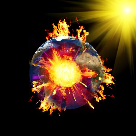 Exploding Planet earth at space. Data source - NASA web site. photo