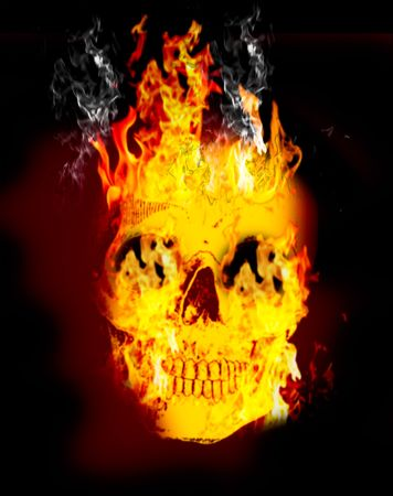 Fire skull on dark black background