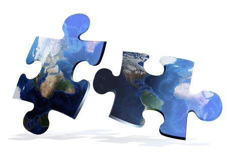 global map puzzles communication on white background photo