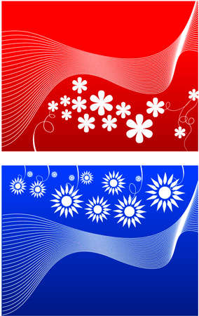 Red and blue flower illustration background Vector