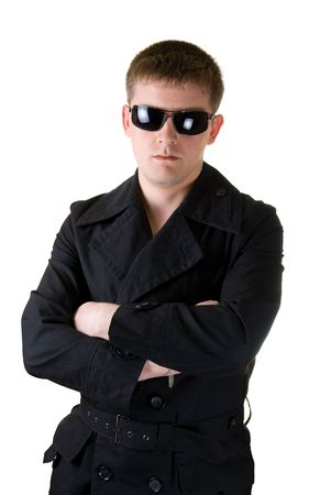 man Wearing black coat with sunglasses isolated on white Background