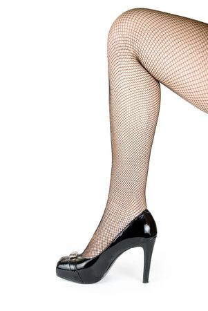 woman leg with black stoking isolated on white photo