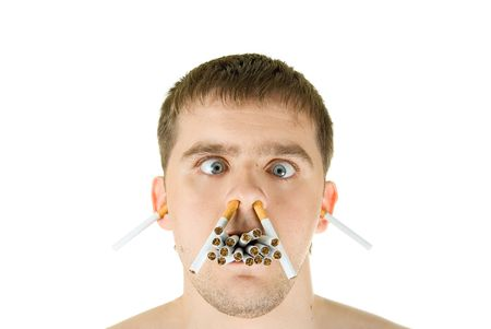 fiend: young man with many cigarettes in his mouth