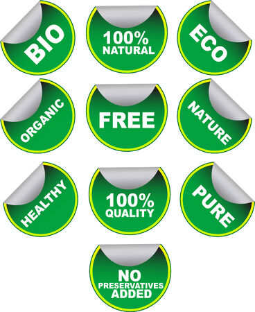 Set of green vector labels for organic, natural, healthy, bio food on white