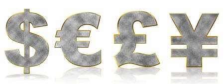 currency glitter: Abstract Bling Currency Symbols on white with reflection Stock Photo
